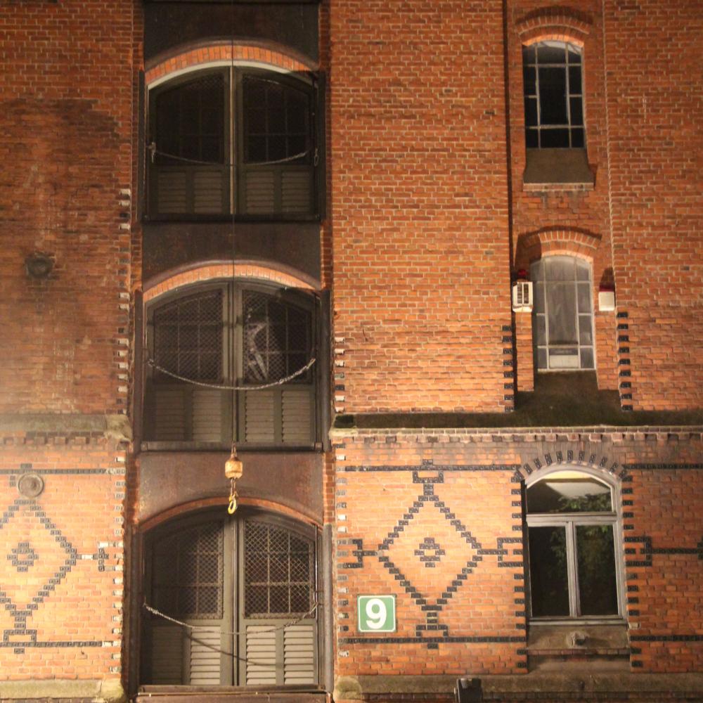 Speicherstadt Block E bei Nacht